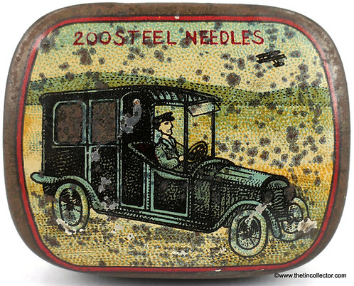 "RARE early 1900's ""CAR & DRIVER"" gramophone needle tin"