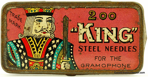 KING Gramophone Needle Tin