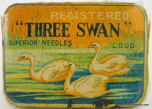 THREE SWAN Gramophone Needle Tin
