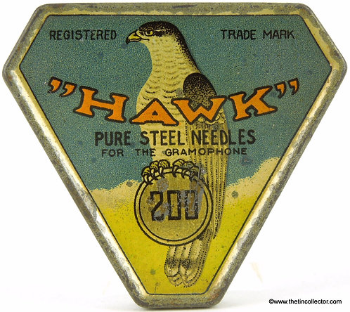 Rare HAWK Triangle Gramophone Needle Tin