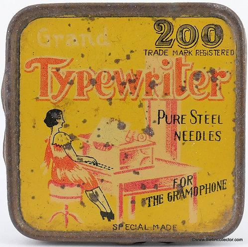 GRAND TYPEWRITER Gramophone Needle Tin