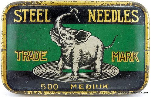 ELEPHANT Gramophone Needle Tin  **LARGE 500 SIZE**