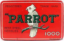 Parrot 1000 size needle tin