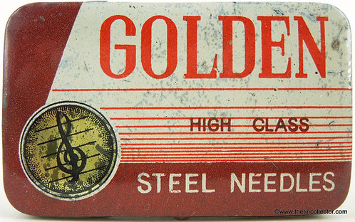 GOLDEN Gramophone Needle Tin