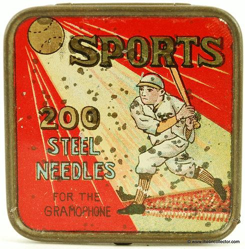 Rare SPORTS Gramophone Needle Tin (Baseball)