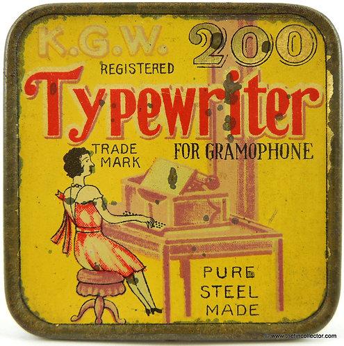 K.W.G. TYPEWRITER Gramophone Needle Tin