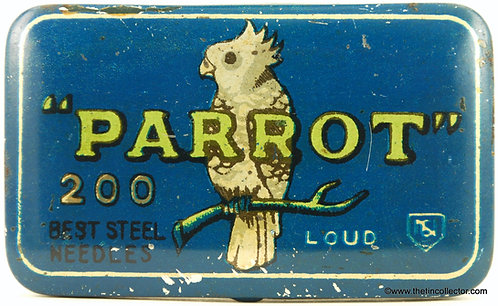 PARROT Gramophone Needle Tin - Blue Version