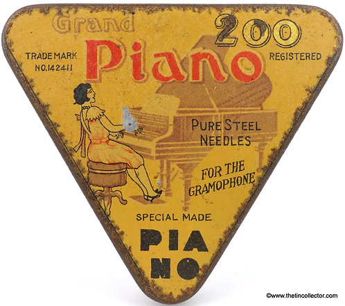 PIANO Gramophone Needle Tin (Unusual - Short Dress Version)