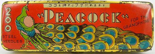 PEACOCK Gramophone Needle Tin