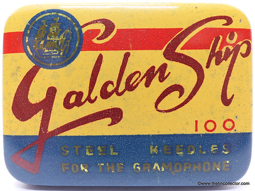 GOLDEN SHIP Gramophone Needle Tin