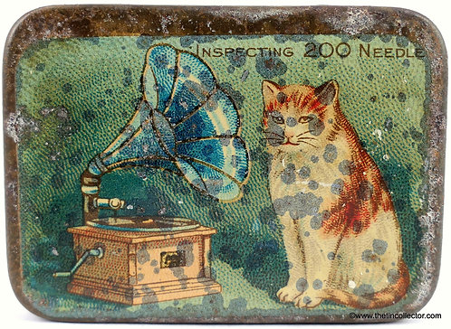 CAT AND GRAMOPHONE Needle Tin