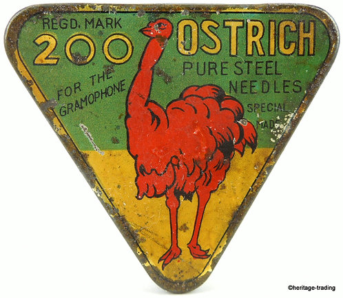 OSTRICH Triangle Gramophone Needle Tin