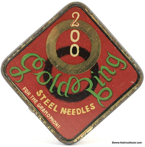 GOLD RING gramophone needle tin
