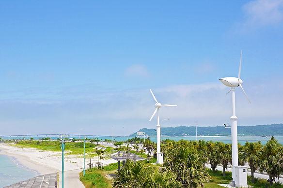 海中道路と風力発電.jpg