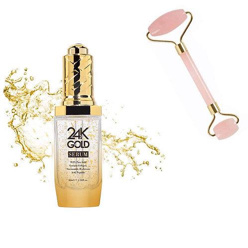 Elégencé 24K Gold Serum & Pink Jade Skin Roller