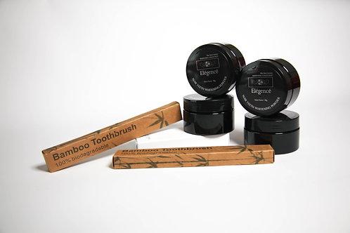 Elegence Noir Teeth Whitening Powder & Biodegradeable Bamboo Toothbrush
