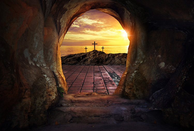 Empty tomb with three crosses .jpg