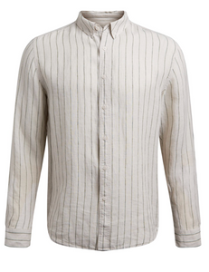 jag white linen striped shirt