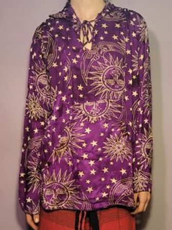 Gypsy Rose Celestial Print Rayon Hoodie (Free Size)