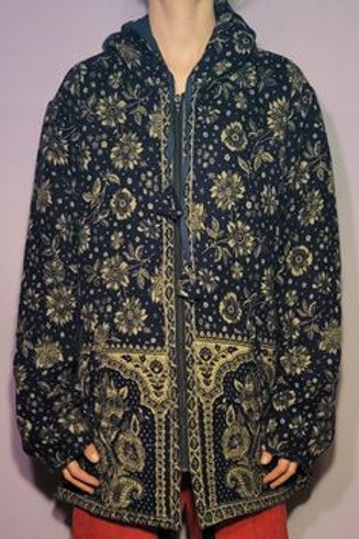 Gypsy Rose Woven Floral Zip-Up Hoodie (Free Size)