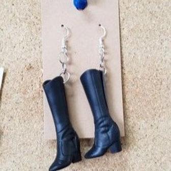 Black Barbie Boot Earrings