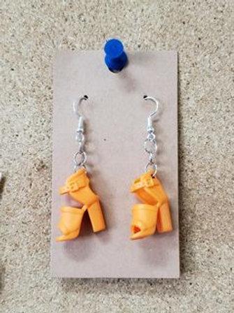 Orange Barbie Heel Earrings