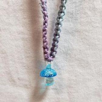 Cyan Mushroom Hemp Necklace