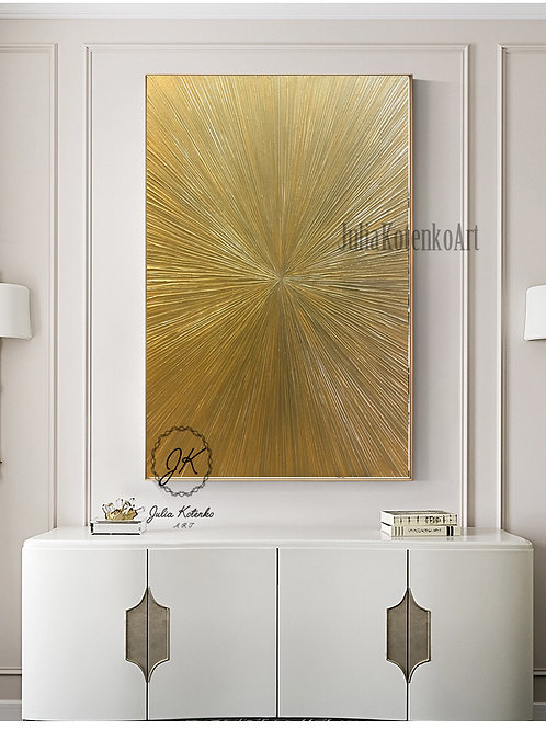 Gold Painting, Large Texture Painting, Gold paintings on canvas, Apartment decor by Julia Kotenko