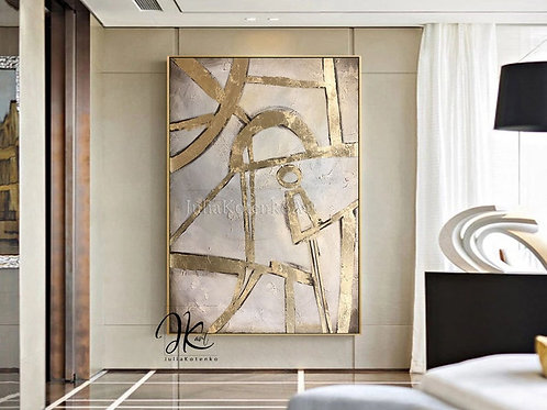 Oversize Abstract Oil Painting Original art,Gold Leaf painting