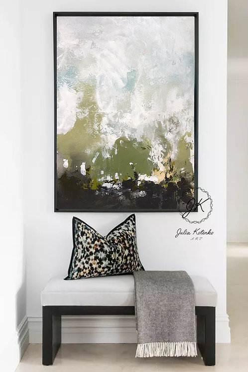 Abstract Landscape oil painting, Textured Wall Art, Modern Artwork by Julia Kotenko