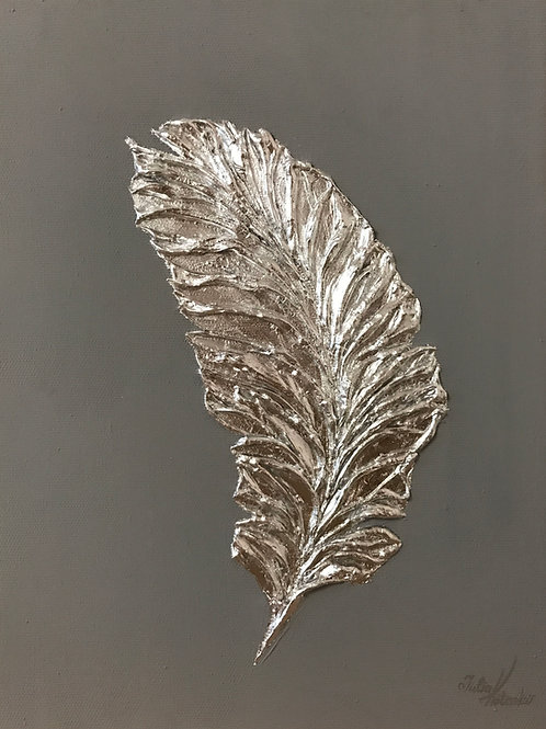 Silver Feather Painting Textured Painting Silver Leaf Art by Julia Kotenko