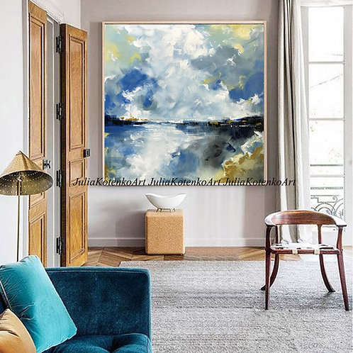 Abstract Acrylic Landscape Painting Gold Painting on Canvas by Julia Kotenko