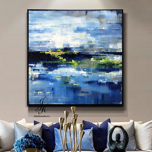 Landscape Abstract Acrylic Painting Gold Leaf Art On Canvas by Julia Kotenko