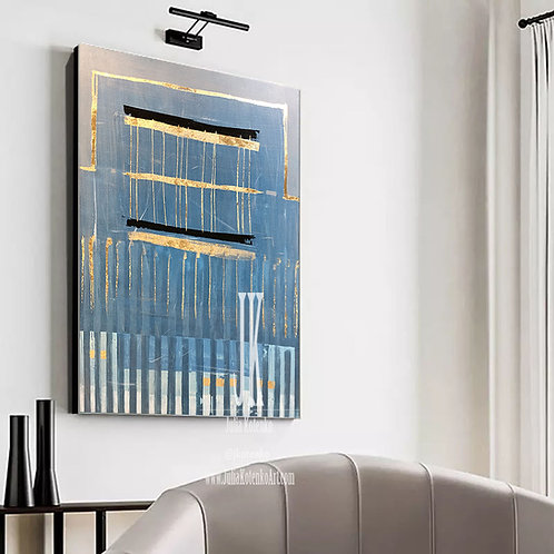 Blue and Gold Abstract Art,Canvas Art Large Gold Leaf Art Decorative Wall Art by Julia Kotenko