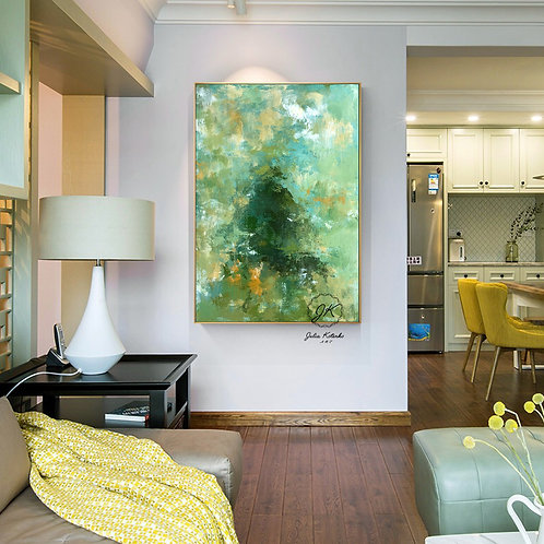 Green Original Abstract Oil Painting-Large Wall Art on canvas by Julia Kotenko