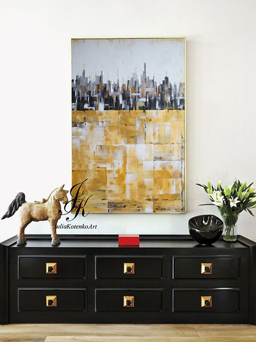 City Abstract Painting on Canvas by Julia Kotenko