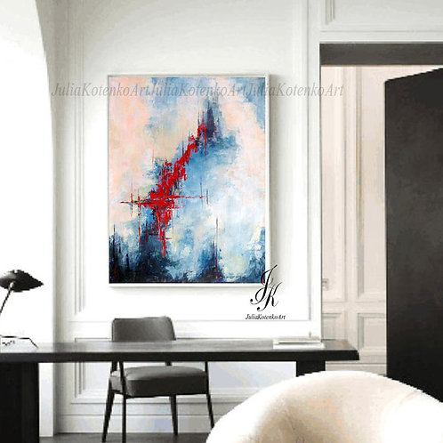 Abstract Painting, Large Wall Art, pallet knife painting, Textured Wall Art by Julia Kotenko