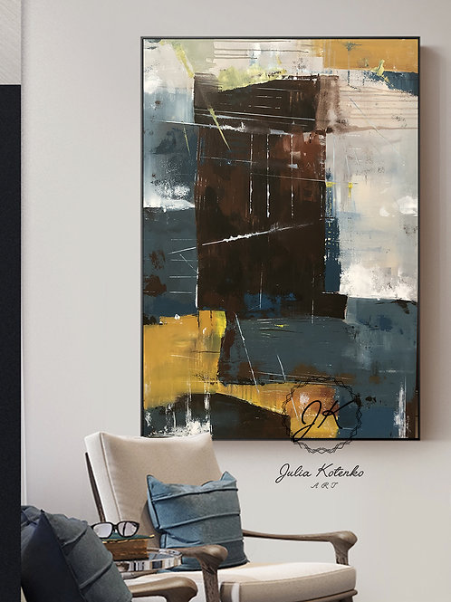 Extra Large wall art, Dark Abstract Painting, Pallet Knife, Oil Painting by Julia Kotenko