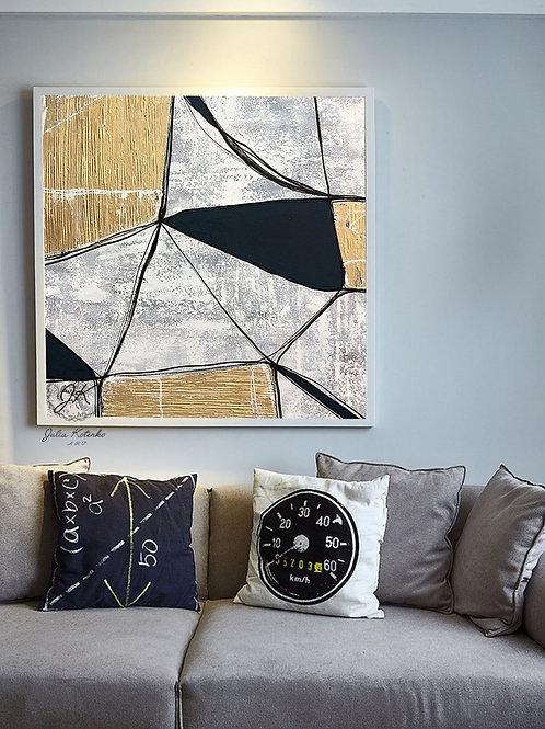 Geometric Large Canvas art, Gold Leaf Painting, Large Wall Art, Textured Art by Julia Kotenko
