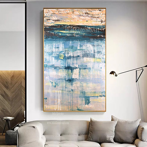Abstract Landscape Painting,Original Abstract Painting,Oversize Painting by Julia Kotenko