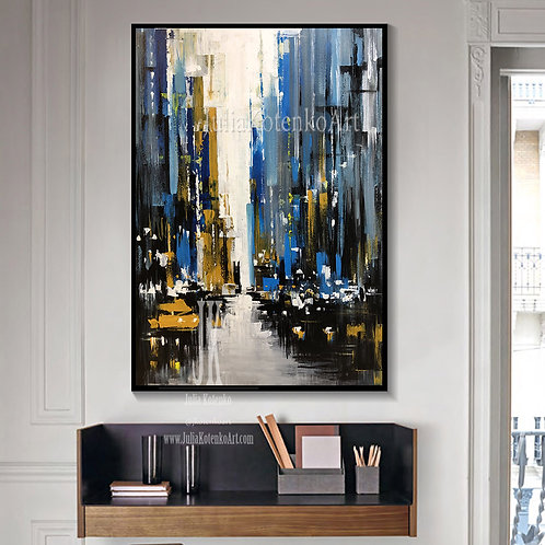 New York City Art,Large Wall Art,Office Artwork Original Abstract Painting by Julia Kotenko