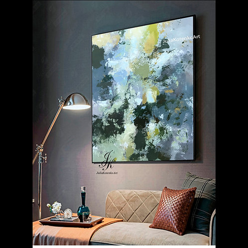 Abstract Large Wall Art, Original Oil Painting, Living Room Wall Art by Julia Kotenko