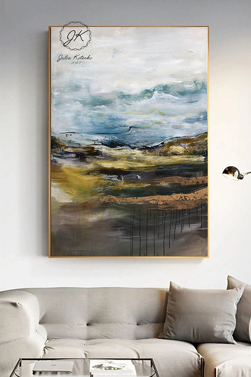 Original Landscape Canvas Painting, Gold Leaf painting, New Home Gift by Julia Kotenko