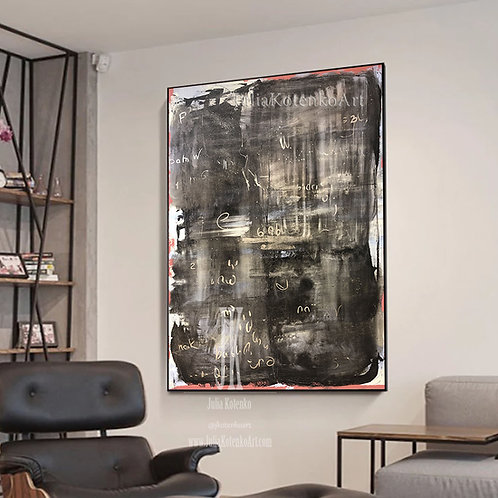 Oversize Painting, Oil Canvas Painting, Black Gold Painting, Large Original Art,Gold leaf Large Abstract by Julia Kotenko