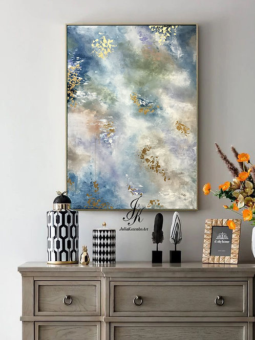 Large Abstract Painting Gold Leaf Art By Julia Kotenko