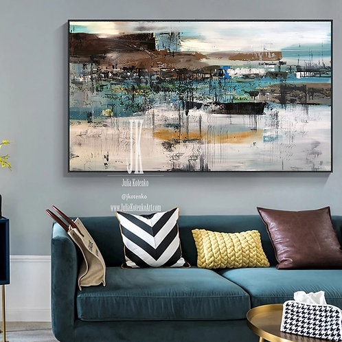 Extra Large Wall Art,Over the Bed Decor,Oversized Painting,Office Artwork by Julia Kotenko