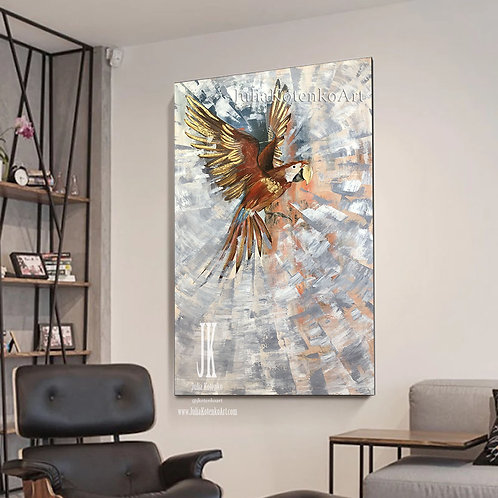 Large Oil Painting On Canvas Gold Leaf Painting Copper Large a Parrot Canvas by Julia Kotenko