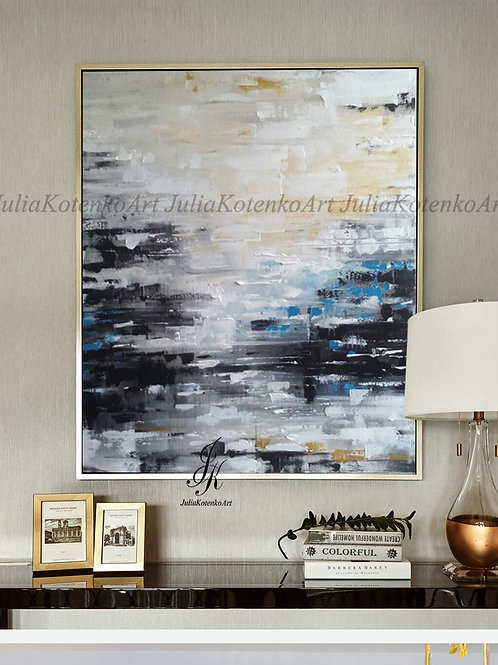 Original Abstract Landscape Textured Painting by Julia Kotenko