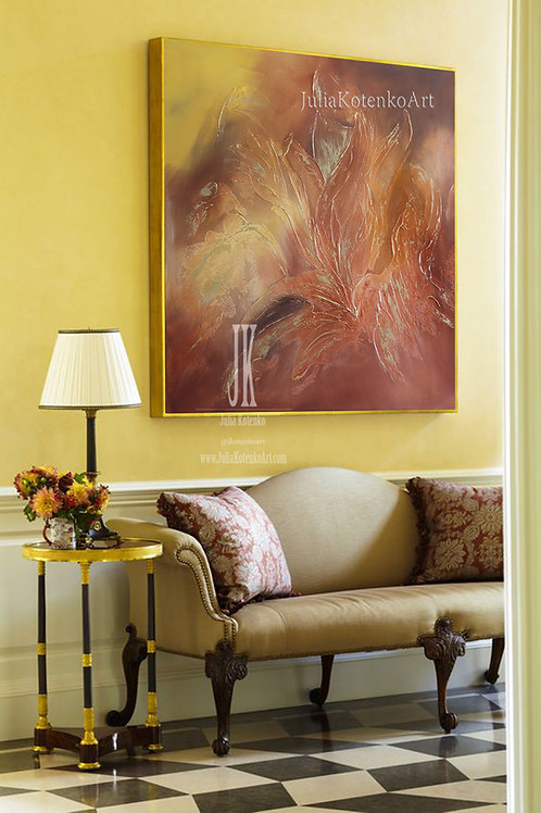 Canvas Art Original,Large Abstract Painting,Texture Painting,Terracotta Wall Art by Julia Kotenko