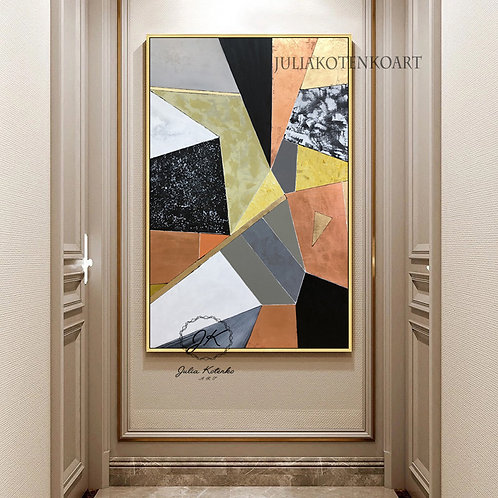 Extra Large Geometric Wall Art, Gold Leaf Abstract Painting by Julia Kotenko